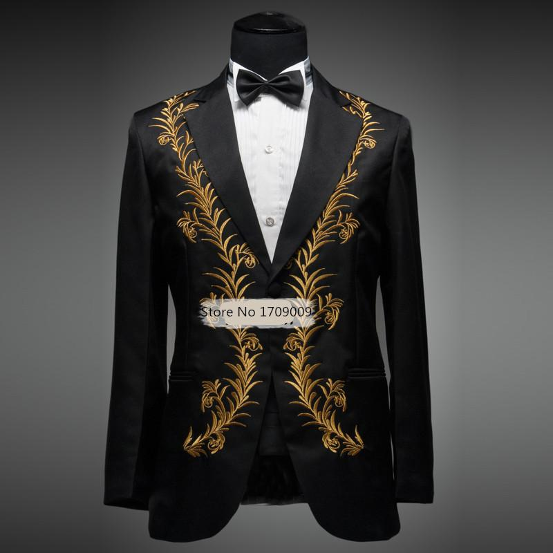 Online Cheap Mens Dress Suit Wedding Suits For Men Gold Black ...