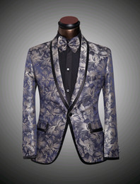 Wholesale Tie Neck Wedding Dress - (Jacket + pants + bow tie) New Mens floral Blazer suits slim Groomsman wedding dress suit the Big yards 4 XL 5 XL 6 XL