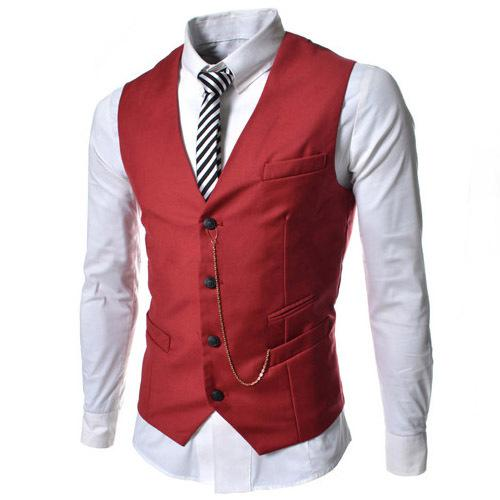 2015 New Fashion Cheap Styles Dress Vests For Men Chain Designer Slim Fit Colete Social Mens Suit Vest Waistcoat Black/Red/White