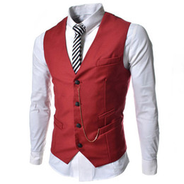 Wholesale Mens Designer Waistcoats - 2015 New Fashion Cheap Styles Dress Vests For Men Chain Designer Slim Fit Colete Social Mens Suit Vest Waistcoat Black Red White