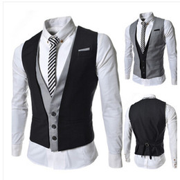 корейские мужские жилеты оптовых-2015 New Fashion Personality Korean Slim Double Layer Men Vest Casual Men Suit vest