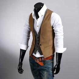 Wholesale Double Breast Blazer - Men's Slim Vest Suit Style Double Layered Single Row Button Vest Waistcoats