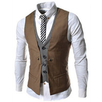 Wholesale Male List - New 2015 Listing Men Vest Fashion Brand False Two Design Waistcoat Male Casual Slim Fit Suit Vests Men Plus Size M-XXL 6COLOR