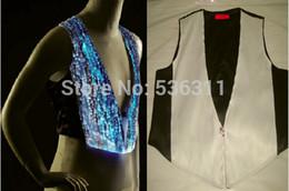 Wholesale Dancewear Vest - fashion 2015 T Shirts Multicolor changeable led men's t-shirt boys top KTV dancewear luminous clothing LED top waiter's vest
