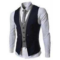 lista de marcas venda por atacado-Homens Vest Listagem do Novo marca de moda Falso Two Projeto Colete masculino Blazer Vest Casual Slim Fit Suit Coletes Homens