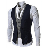 Wholesale Mens Waistcoats Casual - Mens Vest New Listing Fashion Brand False Two Design Waistcoat Male Blazer Vest Casual Slim Fit Suit Vests Men