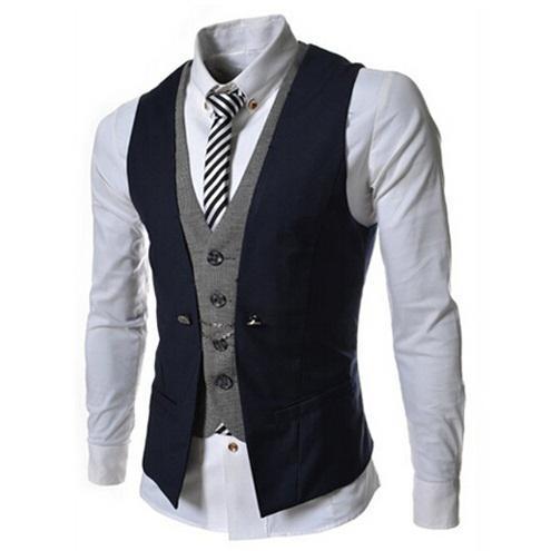 Hommes Gilet Nouvelle Annonce De Mode Marque Faux Deux Design Gilet Mâle Blazer Gilet Casual Slim Fit Costume Gilets Hommes