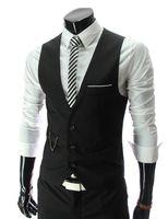 Wholesale Plus Size White Suite - Gilet Homme Men Casual Suite Vest Plus Size XXXL Sleeveless Gilet Grey Suit Vest Black White Veste Sans Manche Casual Suit Vest