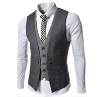 Wholesale Mens Stylish Slim Double - Colete Masculino 2015 New Stylish Mens Double Breasted Vest Slim Fit Casual Social Suit Vest Mens Spring Waistcoat Veste Homme