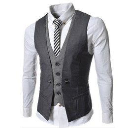 Wholesale New Stylish Vest - Colete Masculino 2015 New Stylish Mens Double Breasted Vest Slim Fit Casual Social Suit Vest Mens Spring Waistcoat Veste Homme