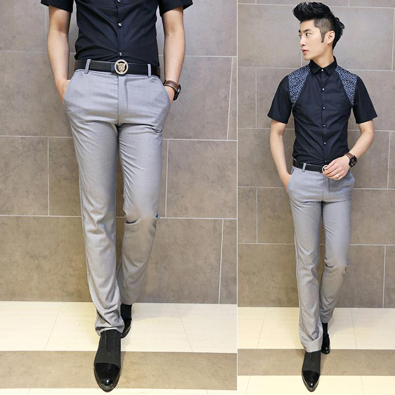 Business Casual Men S Clothing Grey Western Style Trousers Male