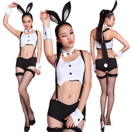 Barato Uniformes Para Casas Noturnas-2017 New Bunny Girl Uniforms Pole Dancing Jazz Singer Vestuário Halloween DS Nightclubs Bares Costume Stage Wear