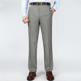 Wholesale Dress Size Small Free Shipping - Free Shipping Summer Men's Pants Big size Dress Pants Male Linen Trousers Thin Straight Business Suit pants Small Plaid 42 44