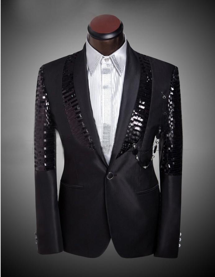 6cfe230bebe6a Satın Al 2015 Yeni Varış Erkek Slim Fit Takım Elbise Mens Pantolon Ile  Siyah Pullu Parlak Blazer Ceket Düğün Smokin Erkek Takım ..., $82.68    DHgate.Com'da