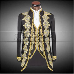 Wholesale Embroidered Wedding Jackets - ( Jacket + pants + vest ) New Fashion Men suits slim Court tails groom wedding dress suit embroidered