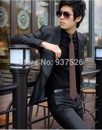 Wholesale Elegant Black Suits For Men - (Jacket+Pant)New Brand Original Design Korean Slim Fit Elegant Groom Wedding Suits For Men Male Boss Latest Coat Pant Designs