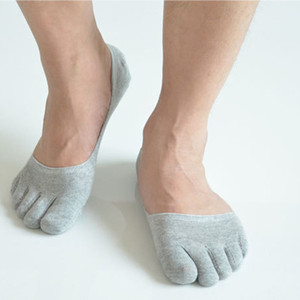 Wholesale Latest Men Invisible Pure Color Boat Socks Toe Socks Cotton Absorb Sweat Deodorant Five Finger Casual Socks