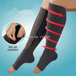 sports sock huf NZ - 4 pcs = 2 Pairs Unisex Zippered Compression Knee Socks Zip-Up Comfort Leg Support Open Toe Zipper Travel Sports Stockings