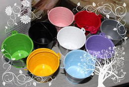 Wholesale Tins Buckets - Free Shipping,100pcs lot ! Many colors available, Sweet Candy Mini Tin Pails favors,Tin candy gift package,Mini Bucket Wedding party Favors