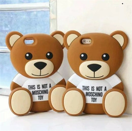 Wholesale Iphone 4s Cases Teddy Bear - 100pcs 3D Cartoon Teddy Bear Soft Silicone Back Cover Case Skin for iPhone 4S 5s 6 6 Plus galaxy S5 S6 note 3 4 case