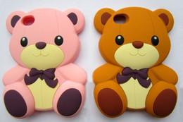 Wholesale Teddy Bear Plastic Cover - 3D Cartoon Teddy Bear Soft Silicone Back Cover Case Skin for iPhone 4S 5s 6 6 Plus galaxy S5 S6 note 3 4 case