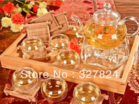Wholesale Double Walled Glass Teapots - Free Shipping hot High temperature resistant Teapot set with Filter 600ml 800ml+6pcs double wall tea cup mug+Warmer gifts candle