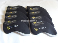Venta por mayor-nueva 10PCS neopreno negro GOLF MIURA hierro HEADCOVERS tapas CLUB