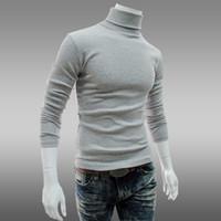 erkekler ince şık kazak toptan satış-Wholesale-M-XXL Artı boyutu Sonbahar ve kış Erkekler Kaşmir kazak ince kaplumbağa boyun knited kazak mens Şık Slim Fit jumper