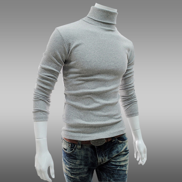 top popular Wholesale-M-XXL Plus size Autumn and winter Men Cashmere pullover slim turtle neck knited sweater mens  Stylish Slim Fit jumpers 2019