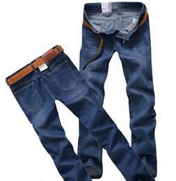 Wholesale Men Italian Pants - Wholesale-2015 Famous Brand men jeans New Fashion Men's Jeans slim fit ,Italian Jeans Men,100%Cotton Denim Pants,Dark Blue,Large Size