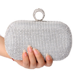 Wholesale Men Evening - Wholesale-NEW Rhinestones women clutch bags diamonds finger ring evening bags crystal wedding bridal handbags purse bags holder