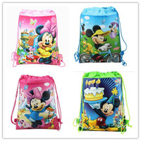 Wholesale Kids Backpacks Skulls - Wholesale-2015 hot Mickey Mouse & Minnie Cartoon Drawstring Backpack Kids School Bags , beach backpack Mixed 8 Designs,Kids Party Gift