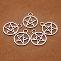 Wholesale Tibetan Silver Pentagrams - Wholesale-Supernatural Pentagram charms Antique Tibetan Silver Tone for making charms bracelet necklace charms