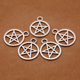 Wholesale Supernatural Charms Wholesale - Wholesale-Supernatural Pentagram charms Antique Tibetan Silver Tone for making charms bracelet necklace charms