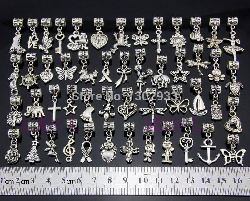 Wholesale-Wholesale 50 pcs /Lot Mix butterfly heart horse cross Vintage Silver Dangle Charms Jewelry DIY Findings Fit European Bracelet