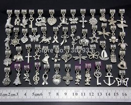 Wholesale Dangles Charms - Wholesale-Wholesale 50 pcs  Lot Mix butterfly heart horse cross Vintage Silver Dangle Charms Jewelry DIY Findings Fit European Bracelet