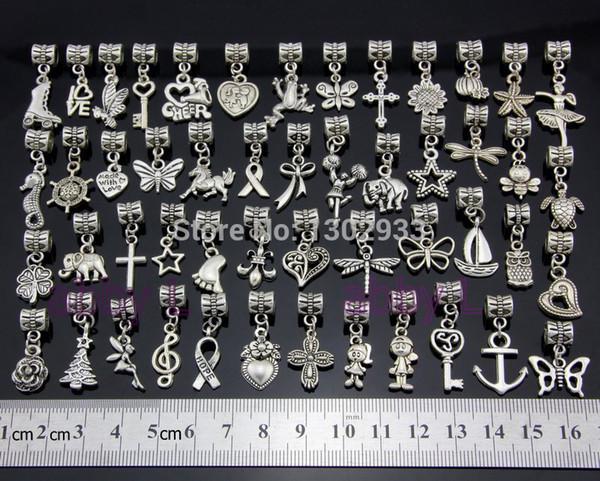 Großhandels-Großverkauf 50 PC / Los Mischungsschmetterlingsherz-Pferdekreuz Weinlese-Silber baumeln Charme-Schmucksache-DIY passende europäische Armband