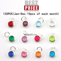 Wholesale Necklace Charm Mix - Wholesale-Free shipping 120pcs lot mixed Birthstone charms 6mm crystal for for Personalized Necklace(Jan-Dec. 10pcs of each month)