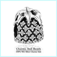 Wholesale Pandora Pineapple - Wholesale-2015 new 925 sterling silver pave sparkling crystal zircon pineapple charms fits pandora bracelets diy jewelry making Er318