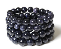 Wholesale Blue Goldstone Bracelet - Wholesale-Blue Goldstone Stretch Bracelet 6,8,10 mm.Dark Blue Sparkling Sand Stone Smooth Round Beads,Charm beaded bracelet