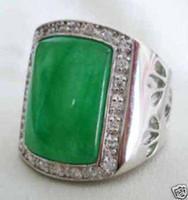 Wholesale Green Jade Gold Rings - Rare Asian tibet silver Green Jade Men's Rings 10#