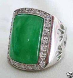 Wholesale Jade White Gold Ring - Rare Asian tibet silver Green Jade Men's Rings 10#