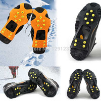 Wholesale Studded Shoes Wholesale - Wholesale-3Pair Free Shipping Hiking Climbing Skidproof Over Shoe Studded Snow Ice Grips Shoes Crampons Cleats xxhb