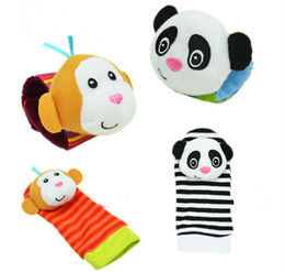 Wholesale Wholesale Sock Monkey - Wholesale-2 pcs waist+2 pcs socks,baby toys panda and monkey animal Wrist Rattle and Foot Socks