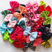 Wholesale Hairpin Hair Accessory Leopard - Wholesale- 10 Pcs lot New 2'' Candy Color Solid  Dot  Leopard Print Bow Hairpin Hair Clips for Baby Girls Kids Hair Accessories