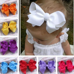 Wholesale Hair Clips Bows Lace Girls - Cute Baby Grosgrain Ribbon Bow Hair Clip Pin Flower Baby Girl Headdress Accessories Orange Pink Green Yellow White Black BB-156