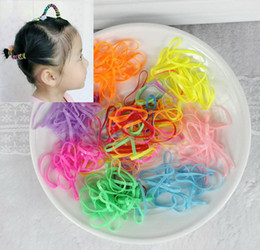 Wholesale Rubber Aprons - Wholesale- TS 10g 200 600pcs flower headband Candy colored rubber bands apron tie strong pull constantly bagged small baby hair band sports