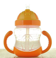 Оптово-3 цвета 280ML Cute Baby Cup Feeding Drinking Straw Bottle Sippy Training Cup Mamadeira