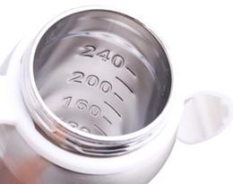 Bottiglia d'infermiera della bocca del doppio di strato della bottiglia d'alimentazione dell'acciaio inossidabile del bambino all'ingrosso-240ml con l'alimentatore della maniglia Trasporto libero da