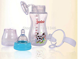 Wholesale Bpa Free Glass Baby Bottles - Wholesale-Bobo P.P. BPA Free 260ml 9Ounce Baby Feeding Bottle Transparent Wide Mouth Variable Flow Single Loaded for 12 Months Kid BP338D